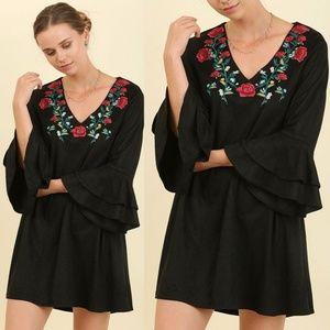 Umgee ruffled bell Sleeve Embrodiery Dress Black